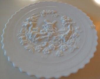 MILK GLASS WINDMILL Plate