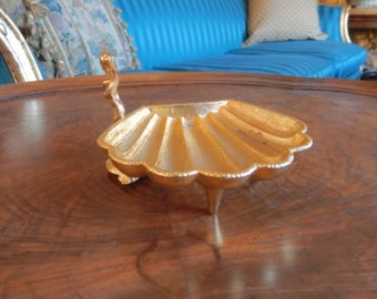GOLD PLATED SOAP Dish with Cherub