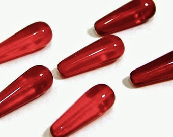 Red Teardrop Bead, Czech glass beads, red bead, 16x6mm, 8 each, D131