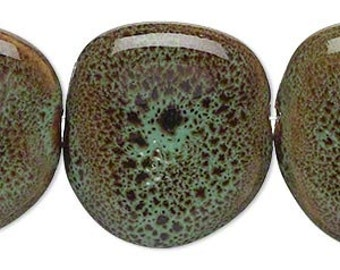 Green Porcelan Bead, Teal Bead, speckled bead, puffed porcelain, 27 to 29mm, 4 each, D595