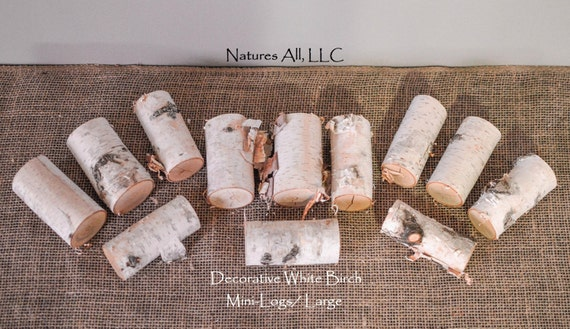 Decorative White Birch Mini-Logs/Large/12 Pc. Set/ For Weddings And Home Décor/Shipping Included: Item# MLL-4900