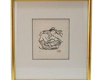 "Aristide Maillol Woodcut Print ""Bathers"""