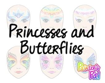 Digital Face Paint Design Pack - Princessess & Butterflies