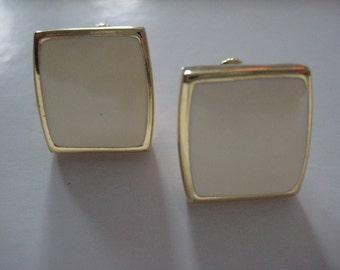 Vintage Off White Gold Enamel Clip On Earrings