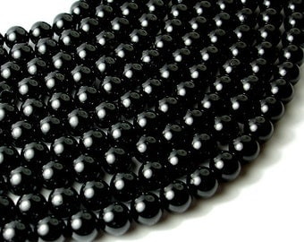 Black Tourmaline Beads, Round, 10 mm, 16 Inch, Full strand, Approx 39 beads, Hole 1 mm (147054002)