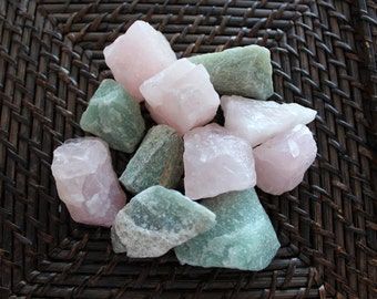 Rose Quartz and Aventurine Rough Stones-Love Crystal Healing Set