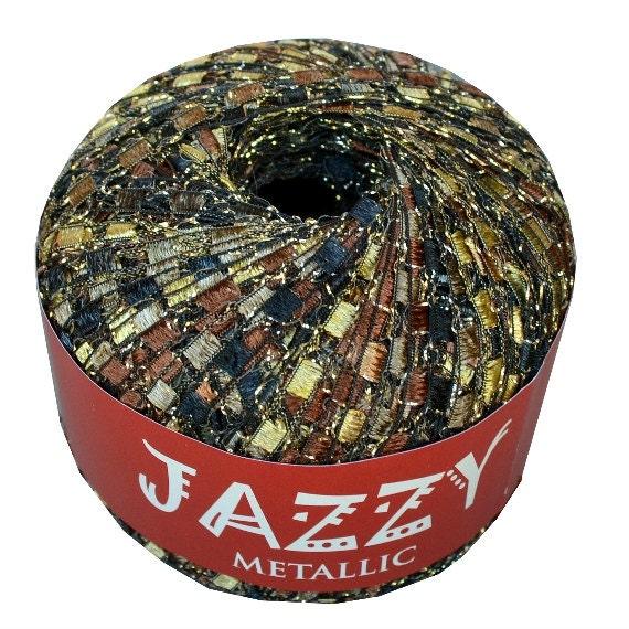 Jazzy Metallic Ladder Yarn 33 Brown Beauty Ribbon Ladder