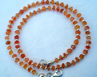 sterling silver & carnelian gem stone beads chain necklace