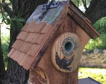 Unique Barnwood Chalet Songbird Birdhouse Reclaimed Recycled Handmade  #0841