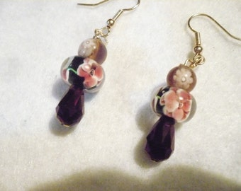 Purple floral passion earrings