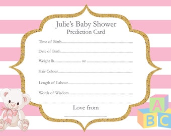 Personalised Baby Shower Prediction Card, Boy, Girl, Neutral, PDF, Printable