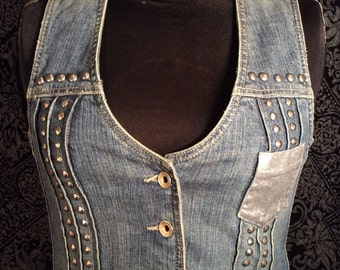 50% OFF Hand Painted and Studded Jean Vest with Epaulettes (SALE)!!!
