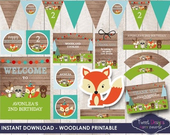 WOODLAND ANIMALS PRINTABLE, Instant download Woodland Printable, Woodland Party, Print yourself Woodland, Edit with Free Adobe Reader