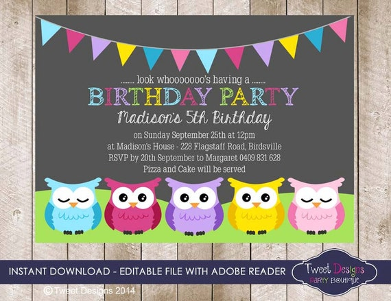 owl birthday invitation instant download by tweetpartyprintables