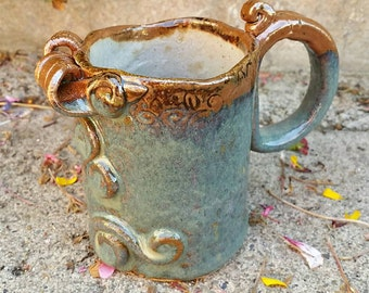 Handmade Rustic Ceramic Bringle Matte Mug,  Coffee Tea Latte