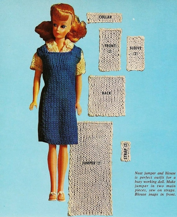 Knitting Patterns For Teenage Dolls : EASY Beginners Vintage Knitting Pattern to make A Strap ...