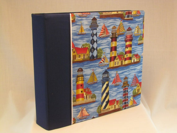 12x12 Postbound Fabric Scrapbook Photo Album Memory Book Handmade Lighthouse Beach Ocean Fishing Light House Beacon AO16 Album Outfitters