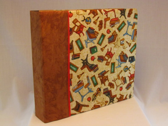 12x12 Postbound Fabric Scrapbook Photo Album Memory Book Handmade School Days Desks Apple Teacher Student High Middle AO29 Album Outfitters