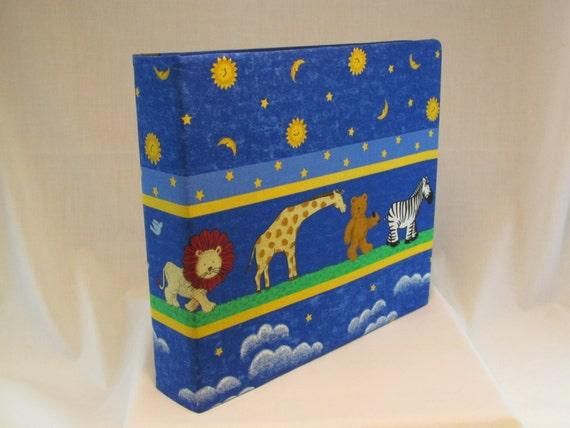 12x12 Postbound Fabric Scrapbook Photo Album Memory Book Handmade Baby Boy Girl Noah's Ark Zebra Tiger Lion Giraffe Album Outfitters AO52B