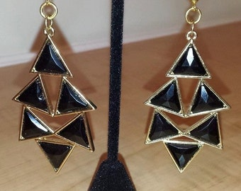 Black Triangles Set In Gold Plated Frame - Black Triangle Earrings - Triangle Earrings - 80's Earrings - Women's Earrings - 80's - Women's