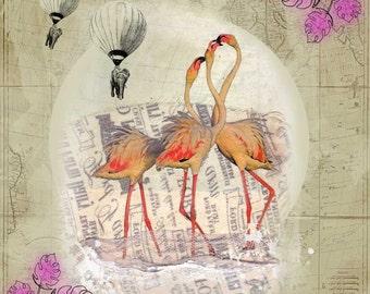 Flamingoes Dance - Vintage inspired print