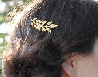 Leaf hair comb, golden hair comb, bridal hair accessory, gold leaf hair pin,bridesmaid jewelry, nature wedding