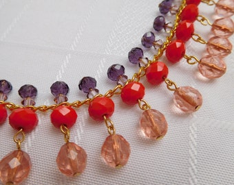 Pink, Red & Purple Swarovski Crystals and Glass Beaded Necklace on Gold Plated Chain