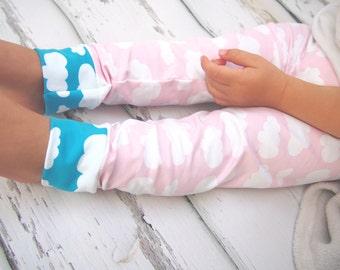 Baby leggings , girls clothing , cloud leggings, girls leggings , girls clothes , printed leggings , baby girl clothes , girls trousers