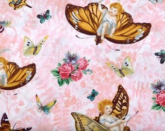 One Yard - Quilting Treasures - Angels on Pink