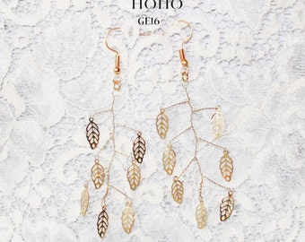 Elegant Pink Beaded Earrings & Golden Leaves Earrings