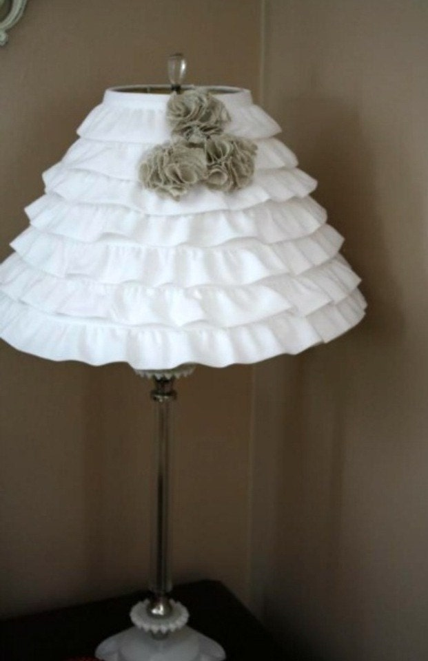 white ruffle with pom pom flowers lamp shade free shipping. Black Bedroom Furniture Sets. Home Design Ideas