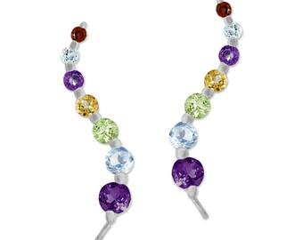Sterling Silver Multi Stone Journey Ear Pin Earrings