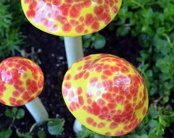 Yellow Mushroom, Home Decor, Garden Stake, Cherry Bomb,  Ceramic Mushroom, Pottery, Outdoor Garden Decoration, Statue