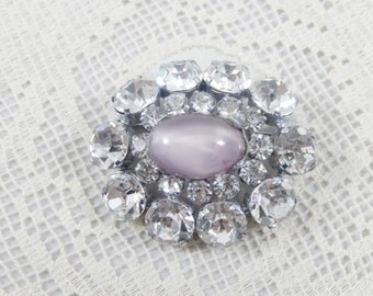 Vintage Oval Clear Rhinestone and Lavender Moonstone Brooch Pin