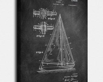 Sailboat Canvases, Patent, Vintage Art, Blueprint, Poster, Wall Art, Décor