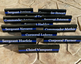 Thin Blue Line Desk Plaque, Name Plate. Police Officer gifts, Police Wedding, Police retirement, Police Wedding Gifts