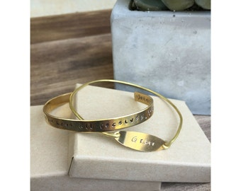 For from his fullness we have all received, grace upon grace - Grace | Cuff and Wire Bracelet Set Personalized Jewelry Hand Stamped Brass