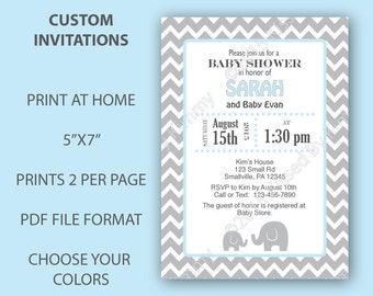 Elephant Baby Shower Invitations Chevron Baby Shower - Custom PRINTABLE Baby Shower Decorations- White Pastel Blue Chevron Party Supplies