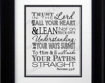 Proverbs 3:5-6 Wall Art Print- DIGITAL
