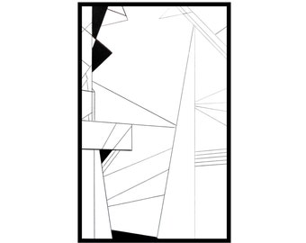 Original Geometric Drawing Abstract Pen and Ink Illustration Black and White Minimalist Art line artwork - Shard