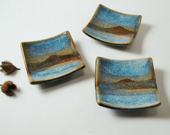 Small Square Ceramic CandlePlate - Scottish Landscapes