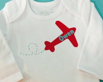 baby boys' personalized airplane onesie vinyl custom