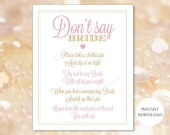 Dont say Bride (INSTANT DOWNLOAD) - Bridal shower games - Pink and gold Bridal shower BR002
