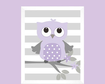 Gray Lavender Owl Nursery Wall Decor - Baby Nursery Art - Nursery Decor - Nursery Print - Baby Girl Nursery - Baby Decor - CUSTOM COLORS