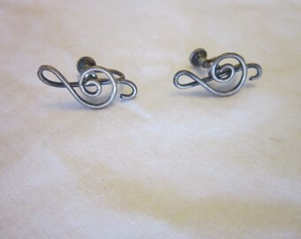 Antique Sterling Silver Music Treble Clef Screw Back Earrings
