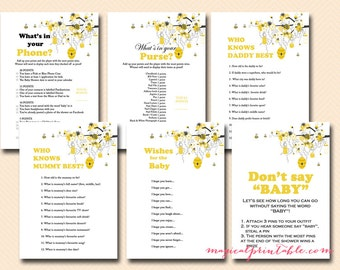 Bee Theme Baby Shower Games Printable, Bumble Bee Baby Shower Games, Honey bee, Gender Reveal Theme Games, Mummy, Nappy  TLC05 ASE