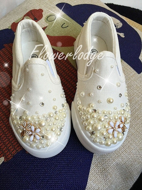 Custom Girls Shoes ivory Pearl Flower Girl Shoes Canvas Girl