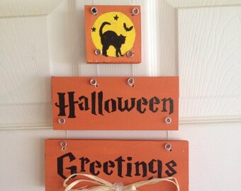 Halloween Greetings Wooden Sign