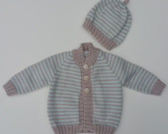 Knitted Baby Cardigan and Beanie