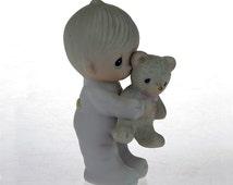 Vintage PRECIOUS MOMENTS Figurine - Jesus Loves ME -  Baby Girl with Stuffed Bunny - 1982 -  #E-9278, Jonathan & David